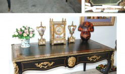 French Boule Library Desk (Before and after)