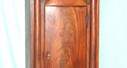 Scottish Mahogany Grandfather Clock Case with Swan Neck Pediment ( before and after)