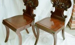 Shell back Mahogany Chair pair